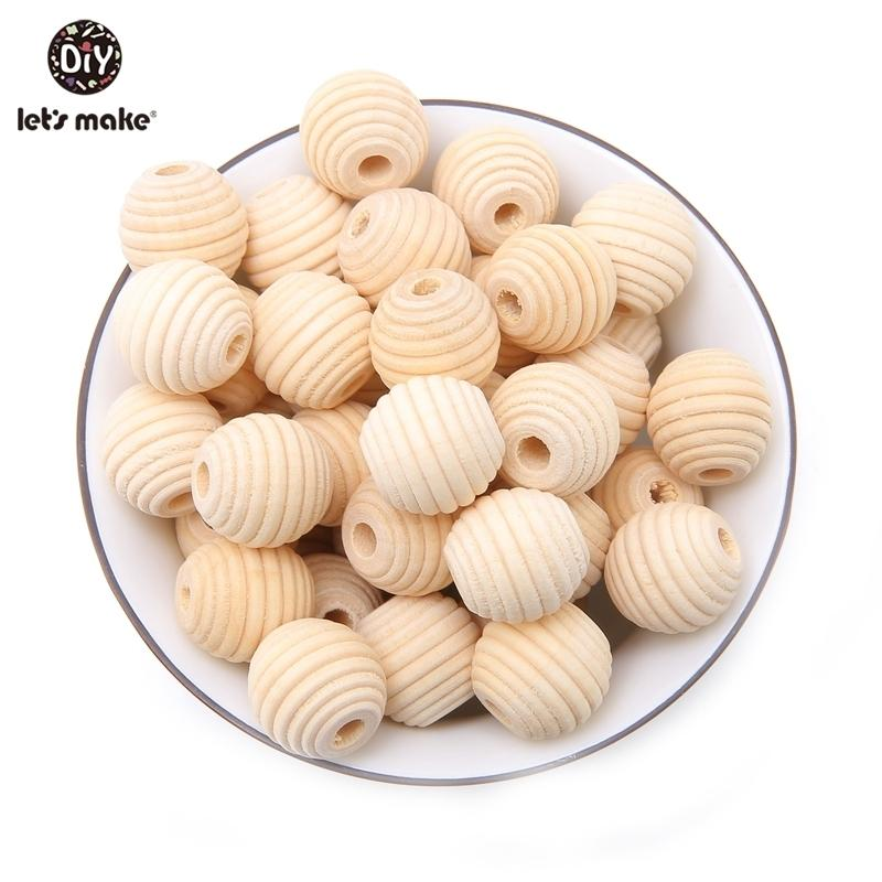 Let's Make Wood Teether Beads 200PCS 18mm Unfinished Non-toxic Natural Wooden Beads Screw Thread Carved Ball Bead Baby Teether 201123