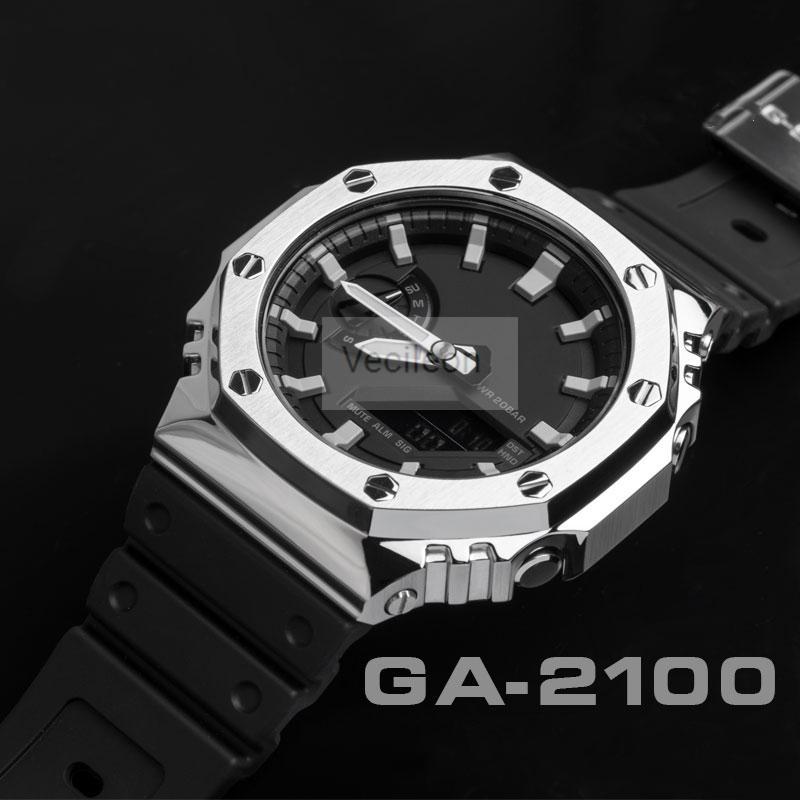 Bezel de montre pour GA-2100 316L 316L Bande de montre à bracelet en métal en acier inoxydable pour la ceinture en acier GA-2100 avec outils 3 couleurs LJ201120