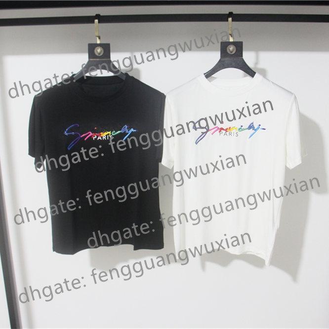 givenchy giv 19ss T-shirt da assinatura de Paris Europa bordados Imprimir Carta Mens Fashion T Shirts Casual Homens Mulheres roupas de algodão T Tops FG9571