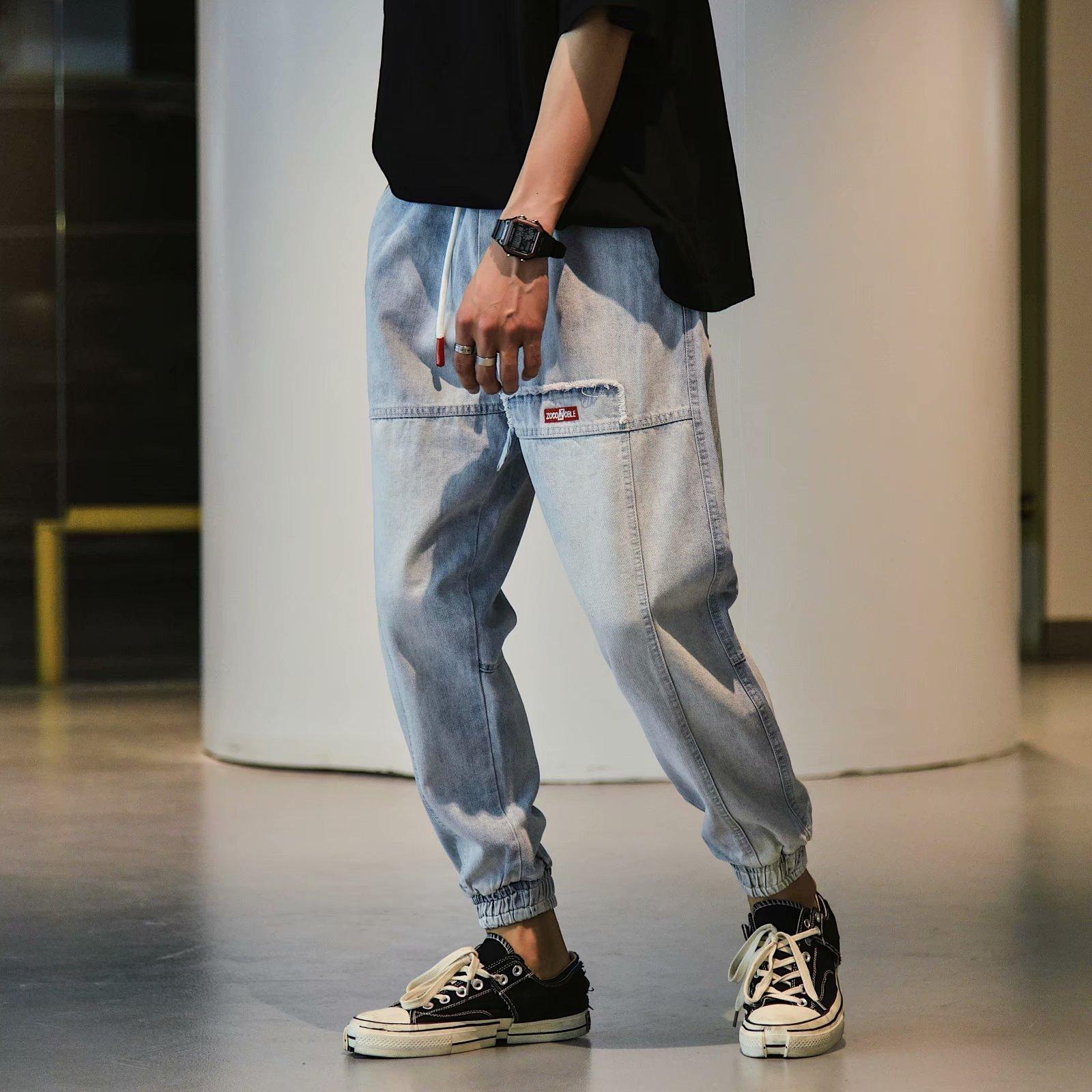Pantalones de algodón de los pantalones de algodón de los pantalones de algodón de los hombres delgados de algodón deportes sueltos y cómodos pantalones de tendencia primavera otoño 2020 nuevo pop