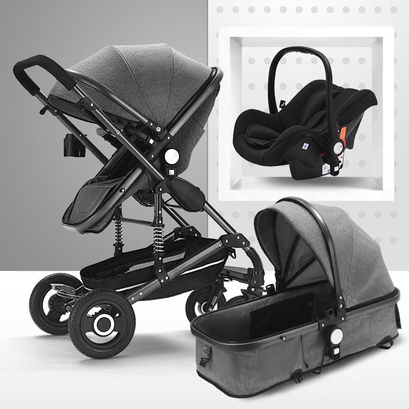 Коляски # Роскошная детская коляска 3 в 1 портативные каретки для путешествий складные коляски алюминиевые рамки высокий пейзаж большой космический Babycar для n