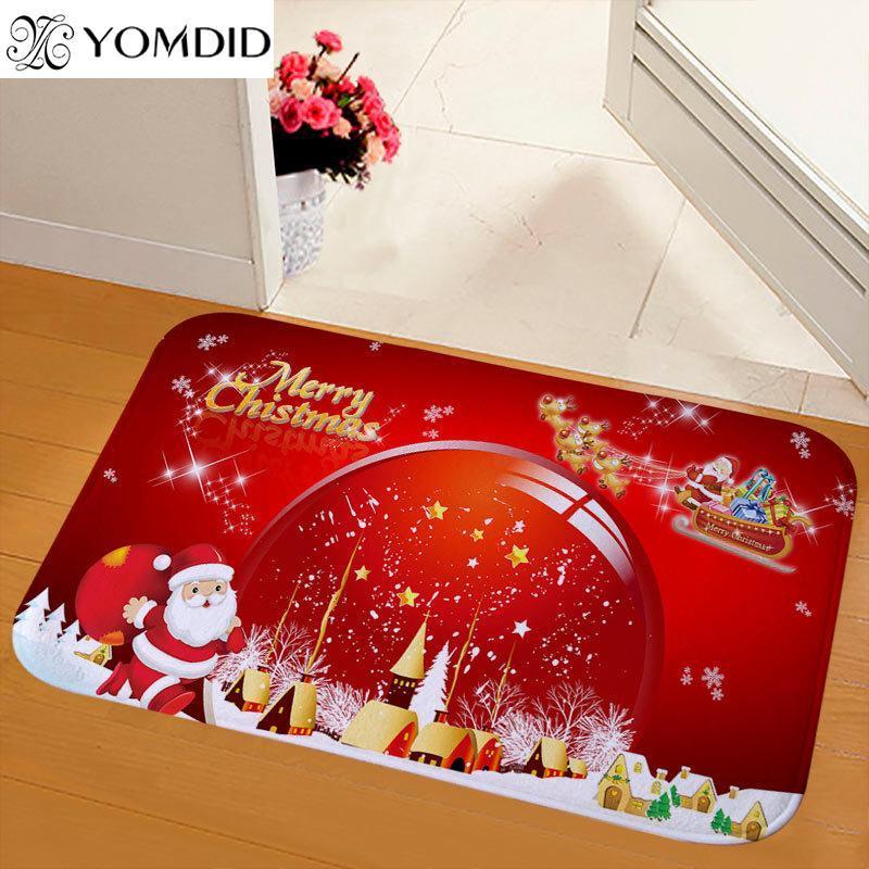 Yomdid 1 шт. Счастливого Рождества Думаты Ковер противоскользящие Санта Печатная Фланель Домашняя Ванная комната Дверь Коврик Рождественские Украшения для дома