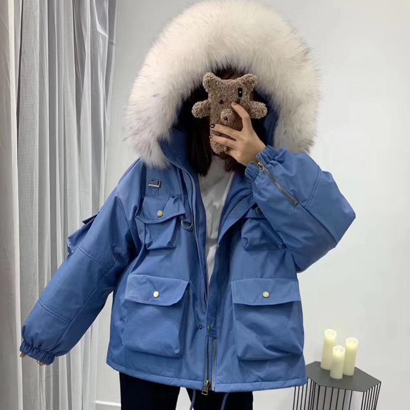 Winterfrauen Fuchs Pelz mit Kapuze Mantel Casual Flaumy Lady Parka Lose Warme Streetwear Solide Weibliche Jacke