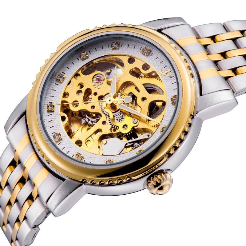 Neue Art und Weise Männer Diamant-Automatik Armband-Uhr-Edelstahl-Band-eleganten Analog Armbanduhr