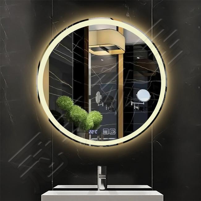 Yuvarlak anti-sis çerçevesiz led ışıklı otel lüks banyo aynası