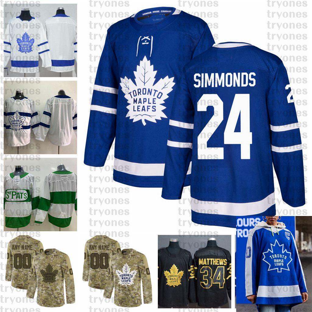 2021 Reverse Retro Anpassen # 24 Wayne Simmonds Toronto Ahornblätter Jerseys Golden Edition Camo Veterans Day Figns Cancer Hockey Jersey