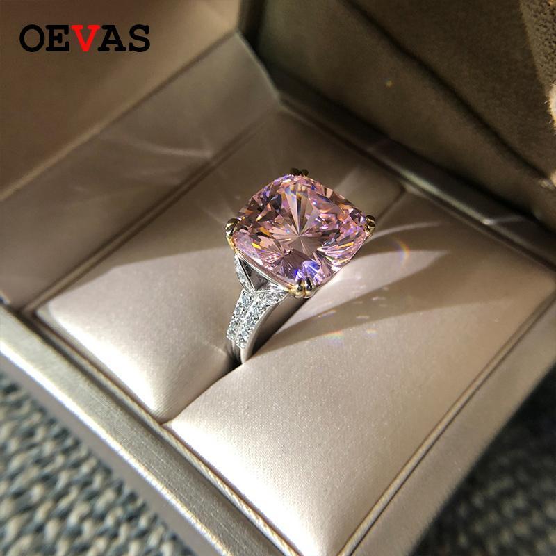 OEVAS 100% 925 Стерлинговое серебро Игристые квадратные розовые желтые белые высокие углеродные бриллиантные обручальные кольца для женщин Точные евредительные подарки Y1124