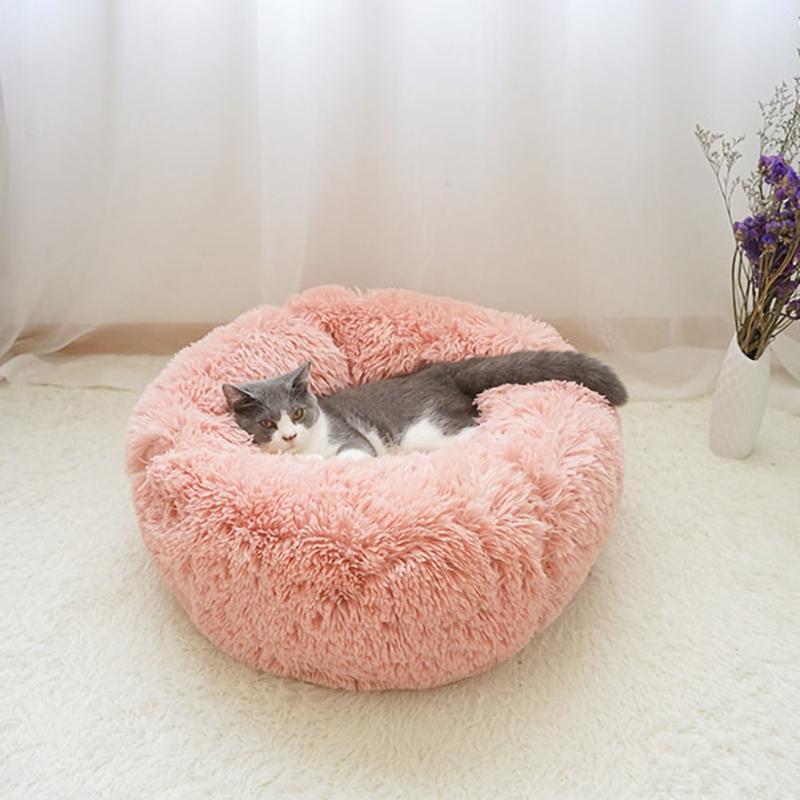 Soft Long Plush Cat Cama Casa Redonda Pet Cat Caverna Pet Cães Cama de Cão Inverno Quente Dormindo para Cães Pequenos Cães Ninho Cachorrinho Esteira