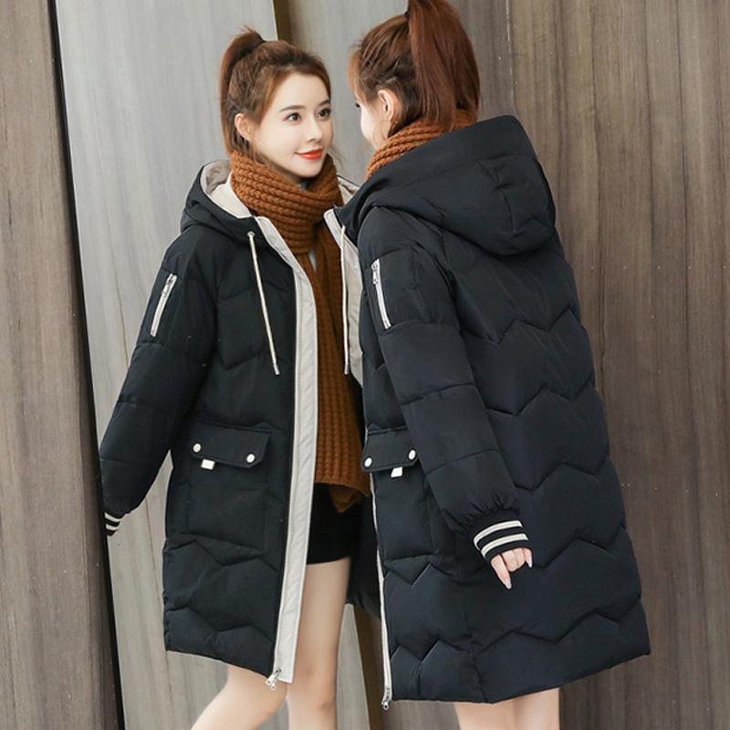 Giacca invernale imbottita in cotone con cappuccio con cappuccio da donna spessa calda femmina grandi tasche a mezza lunghezza parka giacca pallea chaqueta mujer