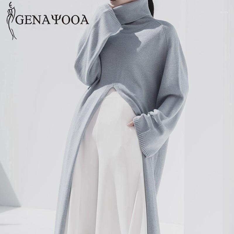 Genayooa Womens Turtleeneck Pullover Свитер с длинным рукавом Винтаж Свободный вязаный свитер Сплит сплошные Длинные Джемпер Дамы Корейский Стиль1