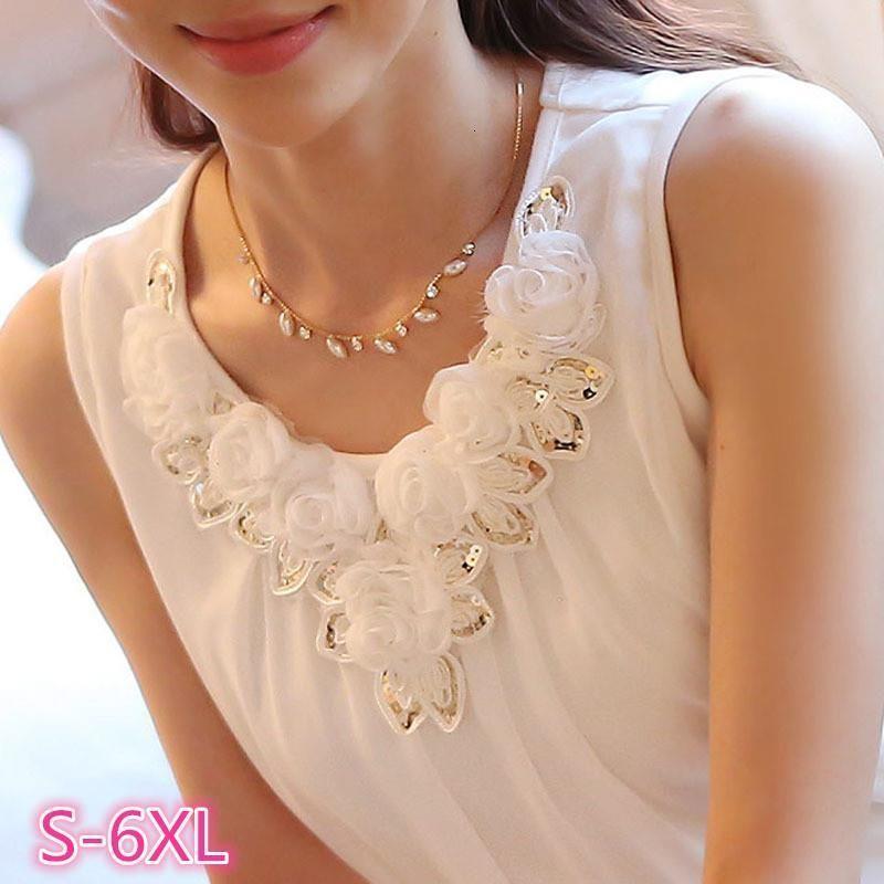 Blusas Femininas Women Blouses Blusa Feminino Tops White Appliques Sleeveless Chiffon Shirt Ladies Xxxxxl 5Xl 6Xl Plus Size Shirt