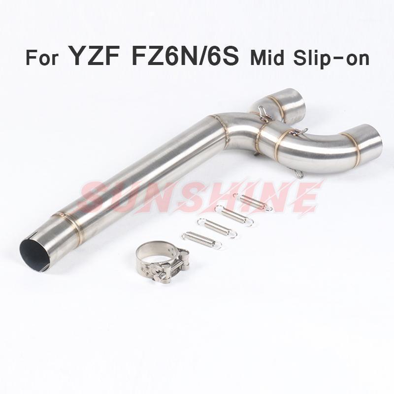 Escape Motorcycle Slip-On Middle Tube Conectar Tubo Sistemas de acero inoxidable Pibike Muffler para YZF FZ6N FZ6 FZ6S FZ-6N FZ-6S1