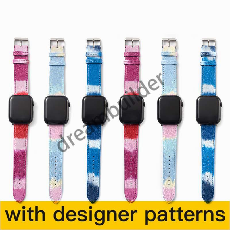 L Moda Watchbands para iPhone Watch Band 42mm 38mm 40mm 44mm iWatch 3 4 5 bandas pulseira de couro pulseira listras