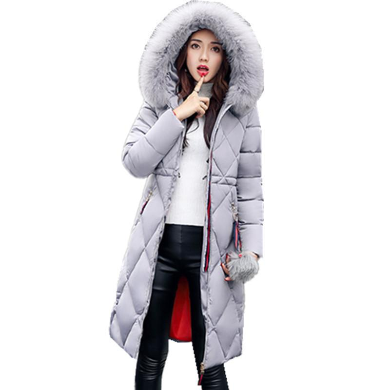 Winter Thick Plus Size Down Long Large Fur Collar Coat, Women's Padded Jacket