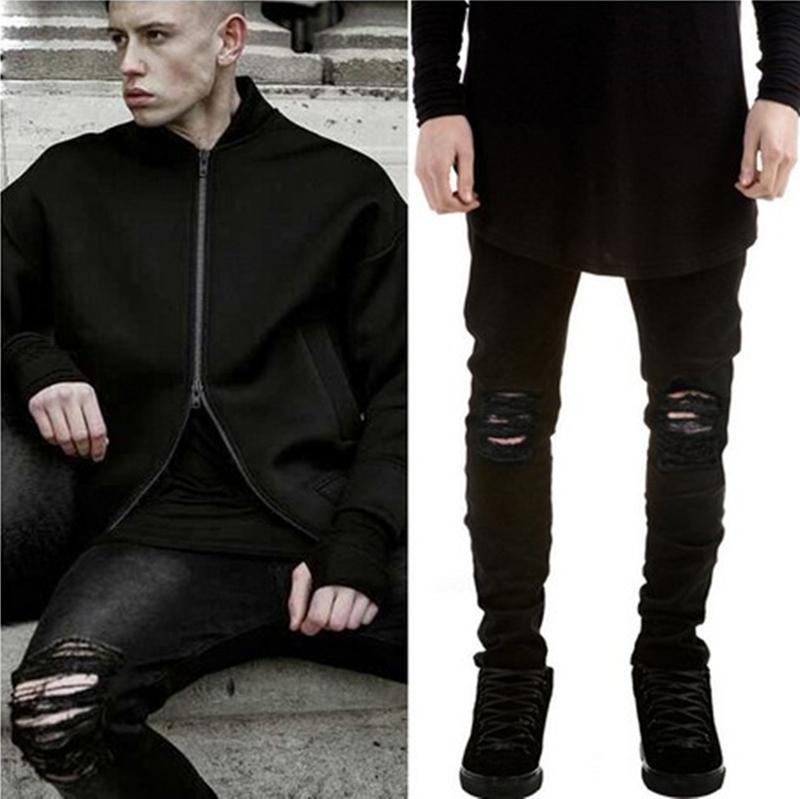 العلامة التجارية الجديدة ممزق جينز رجل أسود ممزق السراويل رجل ضئيلة الركبة عالية الشارع ممزق تمتد الجينز الصيف