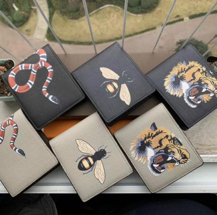 Hommes de haute qualité Hommes Animal Portefeuille Cuir Noir Snake Tiger Tiger Bee Portefeuilles Femmes De Style PureSe Portefeuille Porte-cartes Porte-cartes avec boîte-cadeau 88