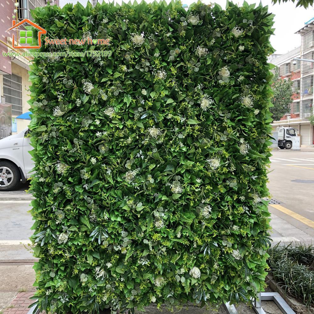 3D Yapay Çiçek Duvar Düğün Arka Plan Yeşil Yapraklar ve Çim Çimen Ayağı Sahte Çiçek Koşucu Plaka Yol Kurşun Ev Z1120