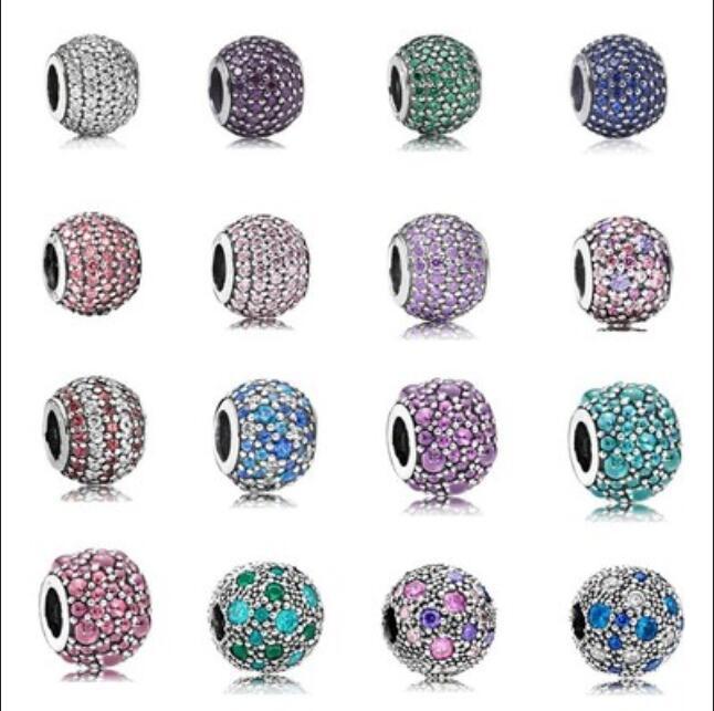 925 Стерлингового серебра Кристалл Crystal CZ CZ Charms European Bear Fit Pandora Snake Chain Bracte Bracte Bracts Jewelry Diy Создание с коробкой