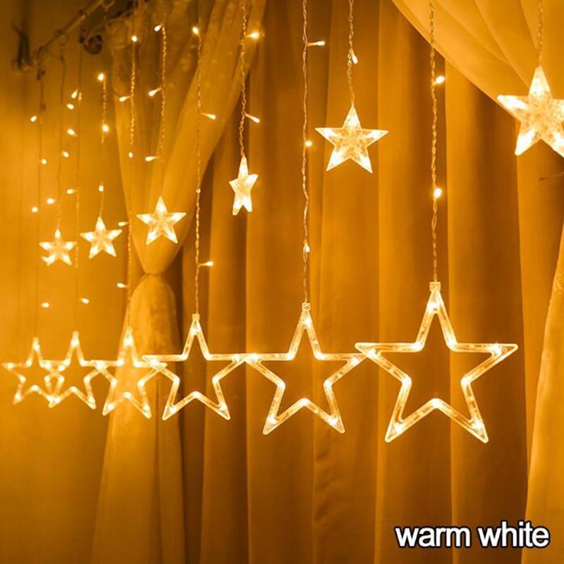 2.5 متر رومانسية الجنية نجمة أدى الستار سلسلة ضوء الدافئة الأبيض 220 فولت 110 فولت عيد الميلاد جارلاند ضوء لحفل زفاف عطلة عيد الميلاد