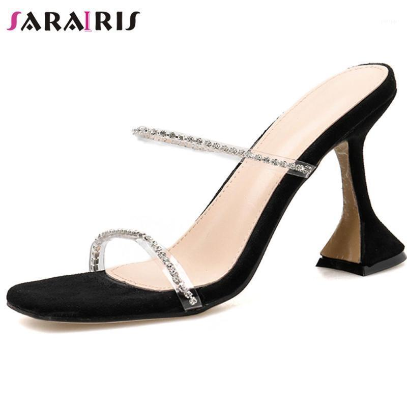 Sarairis Nouvelle Femme High Talons Posseuses PVC Sweet Concise Crystal Diapositives Femmes Summer Sexy Party Shoes Woman1