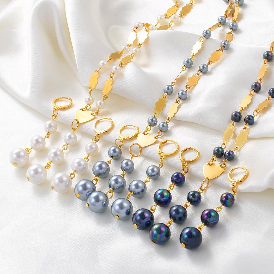 Anniyo Hawaiian 3 palle di perle gioielli set pendente collana orecchini guam micronesian chuuk pohnpei gioielli regalo di nozze # 242506 Z1201