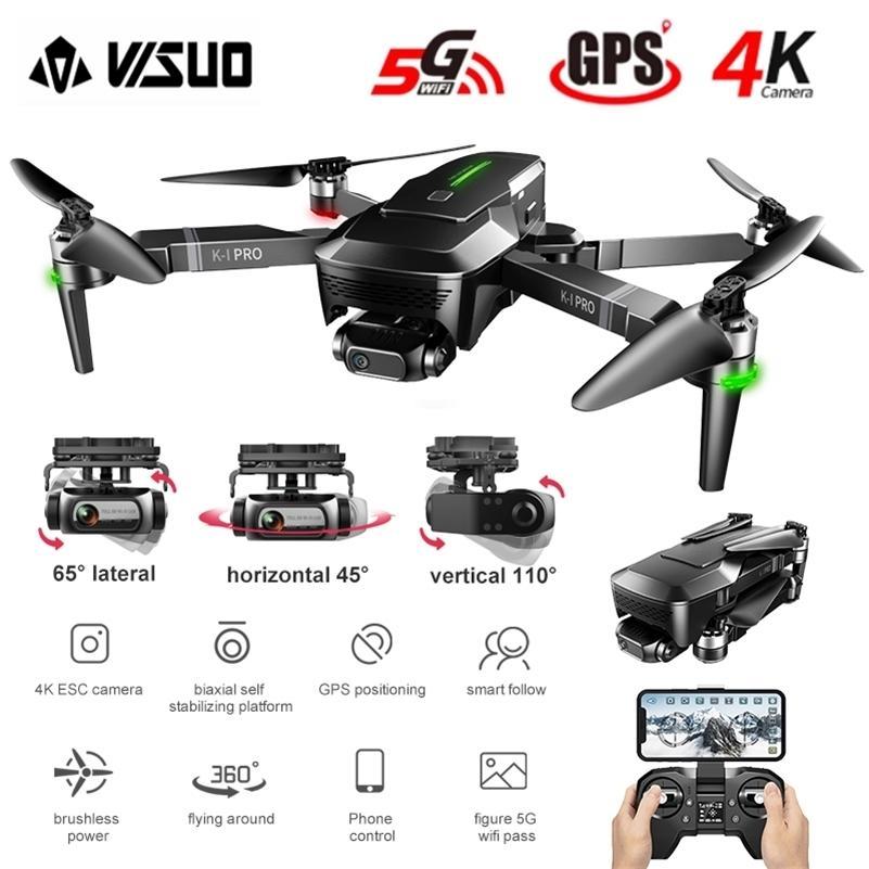 Visuo Zen K1 Pro 4K Dron HD 카메라 2 축 짐벌 WiFi FPV GPS 5G 600M 거리 전문 무인 무인도 Brushless Foldable Quadcopter 201210
