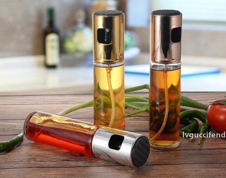 Hot Dining Bar Cucina Olio Spray Pompa Bottiglia Pompa di olio di vetro Gocce perdite Distributore di olio BBQ Strumenti di cottura BBQ