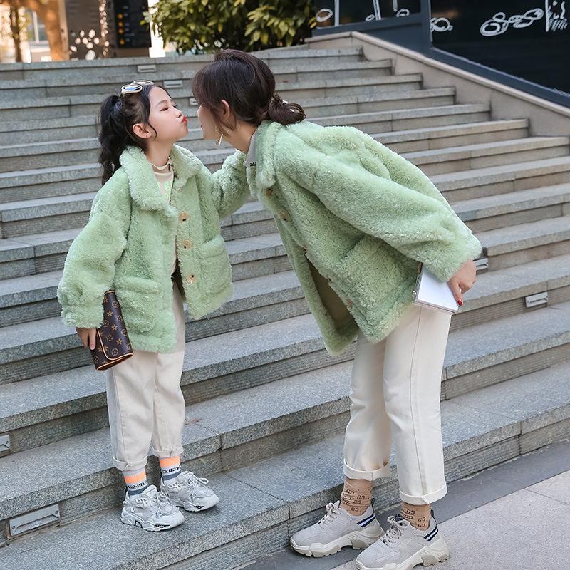 Pai criança menina menina casaco de pele mãe filha roupas combinando roupas familiares olhar mamãe e eu outwear vestido jaquetas