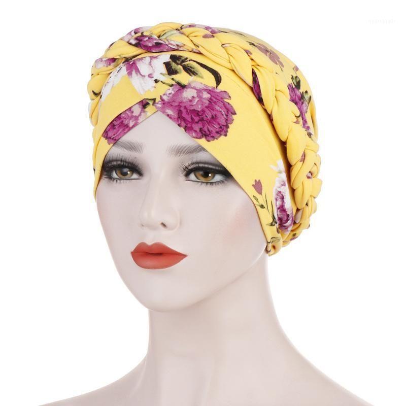 Wide Brim Hats Adult Women Cap Floral Braid India Muslim Ruffle Turban Wrap Tropical Style Bohemia Seaside Ethnic Vintage Elegant Hat#C451