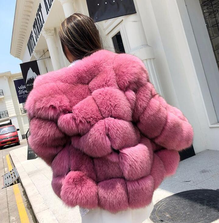 2020 Winter New Faux Fur Coat Female Fox Fur Outfit Mid Length Whole Fur Coat Free Shipping Size XS to 4XL