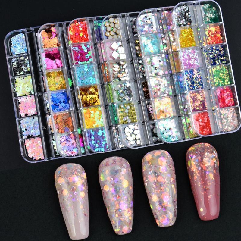 12 сетки шарм 3D ногтей хлопья ногтей бабочка формы лазерные блеск блестки голографические голографические украшения ногтя украшения маникюр DIY советы
