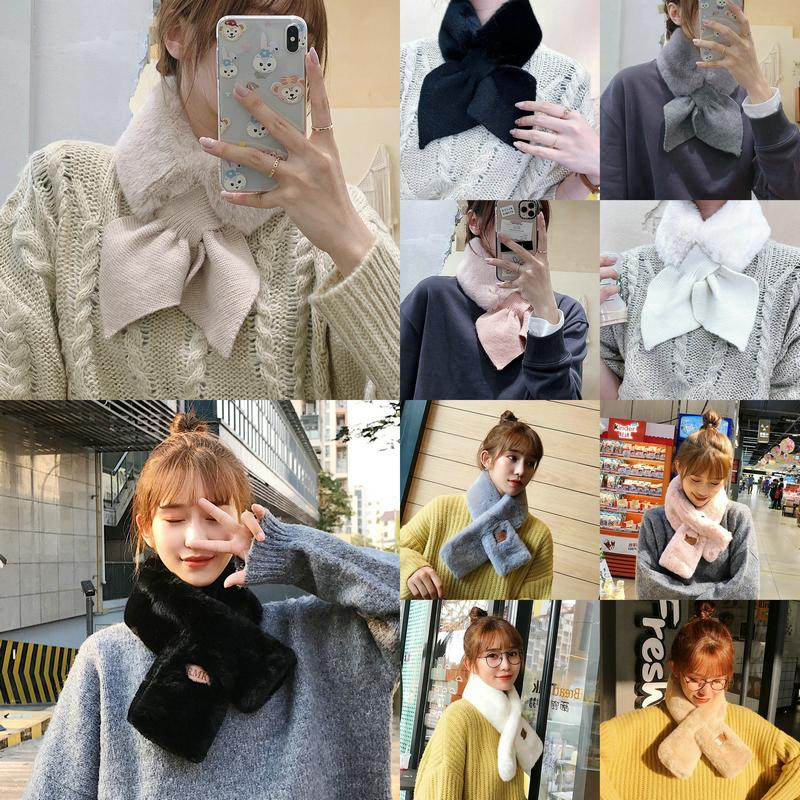 2020 New Faux Fur Collar Neck Warmer Women Scarf Winter Long Skinny Peach Heart Cross Scarves Knitting Wool Plush Scarf Solid Color Warm