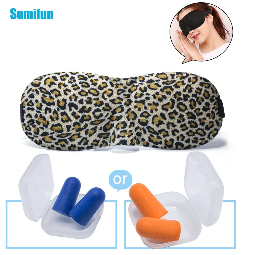 Maschera per occhiali in schiuma di memoria 3D con tappi per le orecchie Elegini Set di viaggio per il lavoro di lavoro per dormire Studio Riposo Sleep Mask Soft Sponge Pad Cover