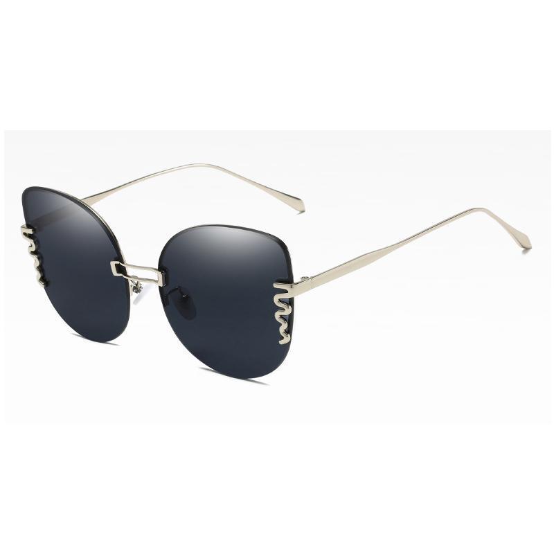 القط العين النظارات الشمسية النساء نظارات الشمس بدون شفة للنساء نمط أنثى uv400 الأخضر البني ماركة مصمم المحيط ظلال