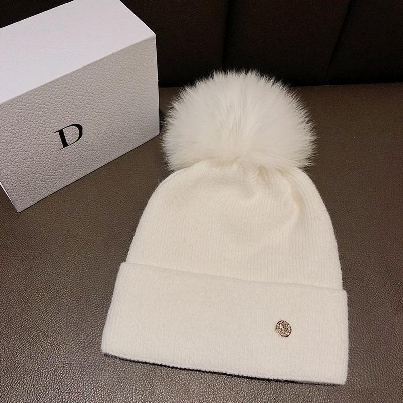 Шапочки / черепные колпачки зимний бренд женский меховой мех POM POMS шляпа для женской девушки вязаные шапочки шапочки толстые чехлы