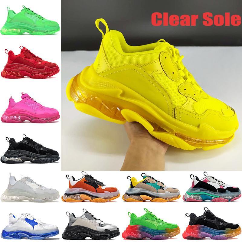 أفضل الأزياء الثلاثي-s واضح الرجال عارضة أحذية المدربين أسود أبيض أصفر الوردي النيون الأخضر rainbow الوحيد رجل المدربين النساء أحذية رياضية
