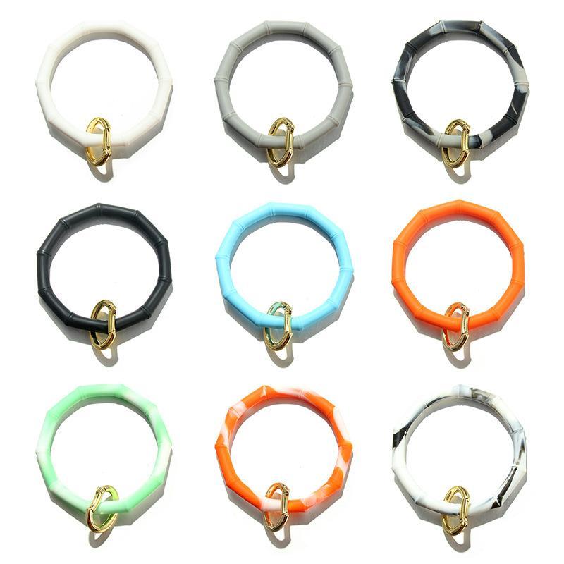 10 Colors Silicone Wristlet Keychain Bracelet Bangle Keyring Large Circle Bamboo Sports Bracelet Silicone Bracelet Holder For Women Girls