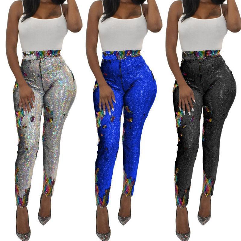 Paillettes minces jambières Modycon Mode Femme Clubwear Pantalons Sexy Shine Respirant Pantalons artificiels Femmes Wear 2021 Nouveau