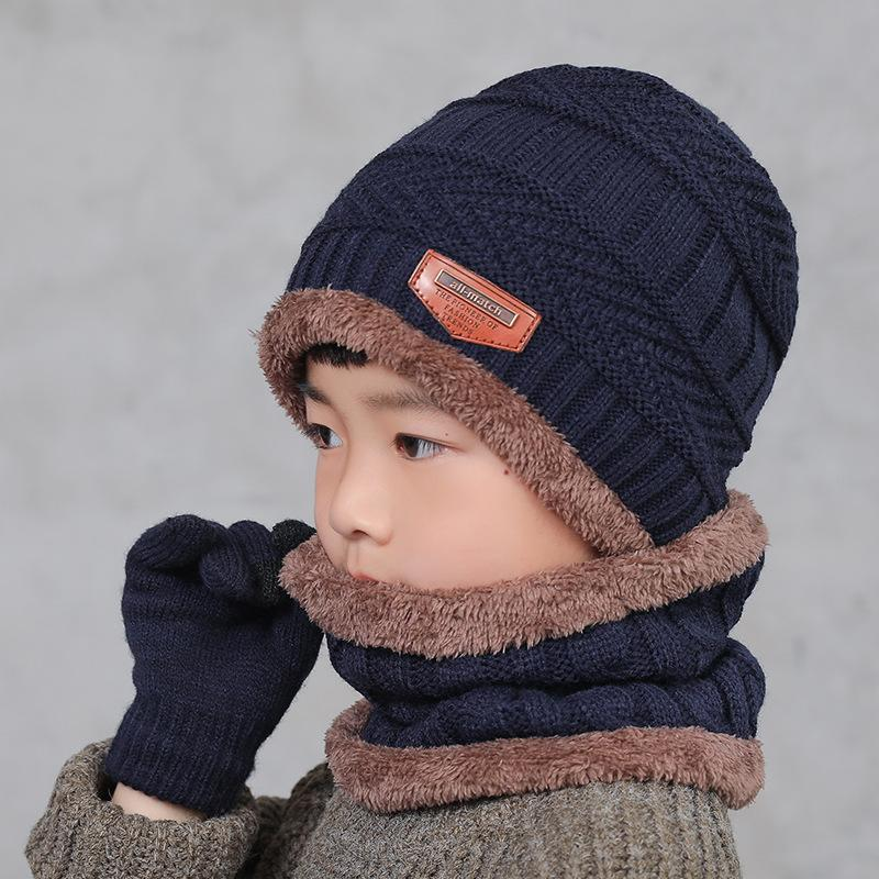 Unisex Kids Knitted Warm Ski Winter Slouchy Outdoor Sports Acrylic Beanie Touch Screen Cap Scarf Hat Glove Sets WXY074