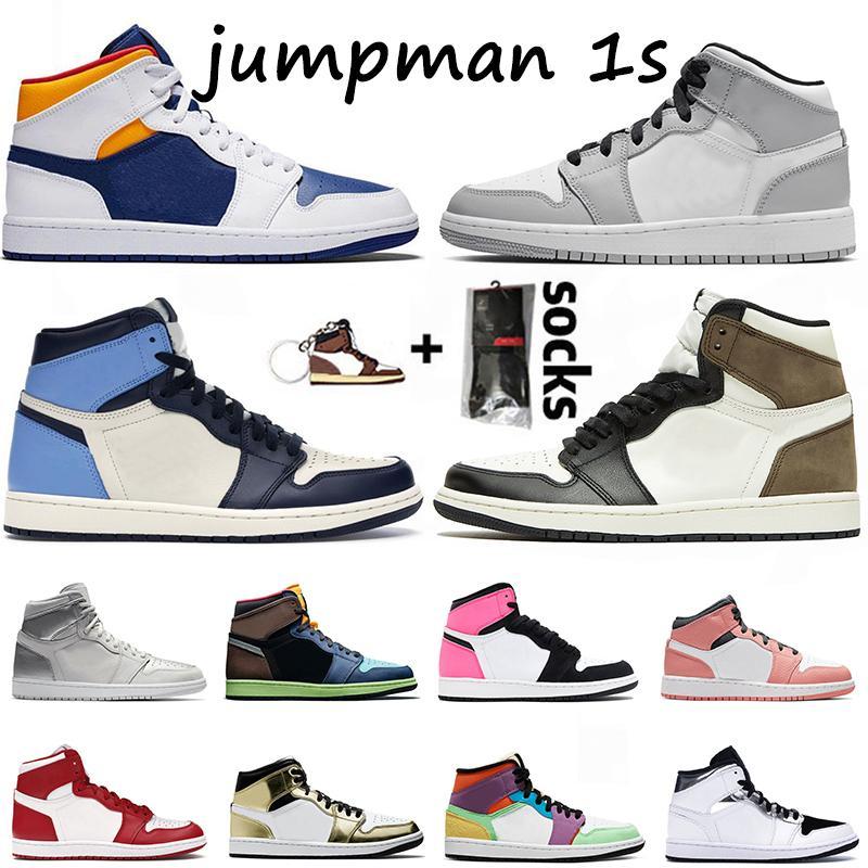 Nike Air Jordan Retro 1 Çorap Jumpman 1 Basketbol Ayakkabı Travis Scotts Dijital Pembe 1s Erkek Satin ileÜrdünRetro Metalik Altın Kadın Eğitmenler Spor ayakkabılar