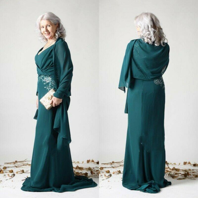 2021 Elegant Satin Mermaid Mother Of The Bride Dresses V Neck Lace Appliqued Evening Gowns Plus Size Wedding Guest Dress