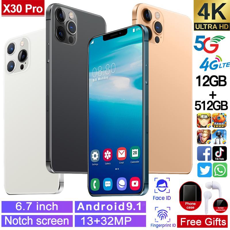 Telefone portátil telefone celular 6.7 polegadas HD + full-se encaixar tela curvada renderizar tampa traseira reconhecimento face cartão duplo cartão inteligente dual x30pro