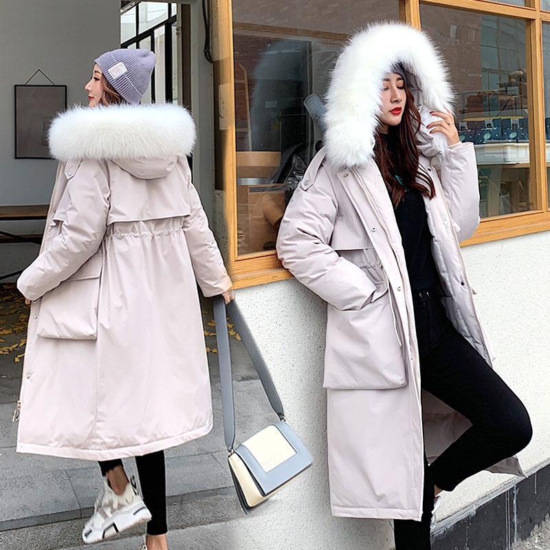 Invierno Long Parkas 2021 Invierno Cuello de piel con capucha de invierno Cuello de piel grueso cálido Black Chaquetas Snow Wear Plus Tamaño Ropa Nueva moda cómoda