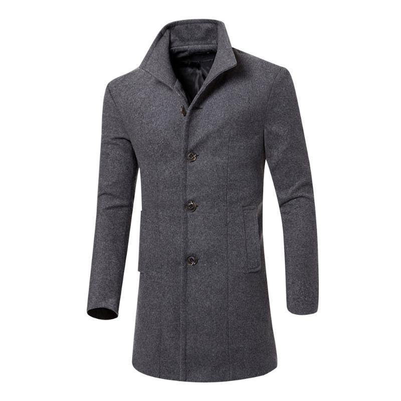 Beau manteau d'automne Hommes hiver Hommes coréen Hommes de surcaste Trench Chaud Tranchez Longue survêtement Bouton Outwat Mélanges de laine
