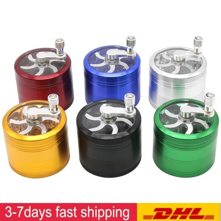 DHL GRATURE GRATUIT avec poignée Alliage d'aluminium Herbe 55mm Diamètre Grenchers Tobacco Broyeur de tabac 4 couches DAB Outils pour fumer Logo Personnalisé Fy2143