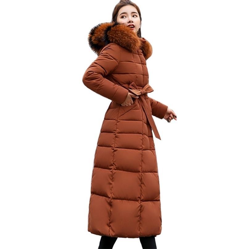 Delle donne sottili Giacca invernale in cotone imbottito caldo addensante per signore cappotto lungo cappotti lunghi parka womens giacche f101 201214