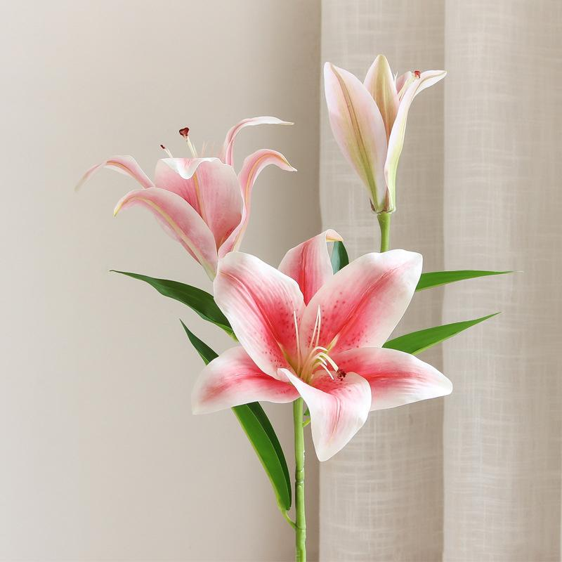 2 قطع الزهور الاصطناعية زنبق يشعر الحقيقي اللمس اللاتكس للديكور المنزل زفاف خلفية زهرة جدار النباتات وهمية الزنابق