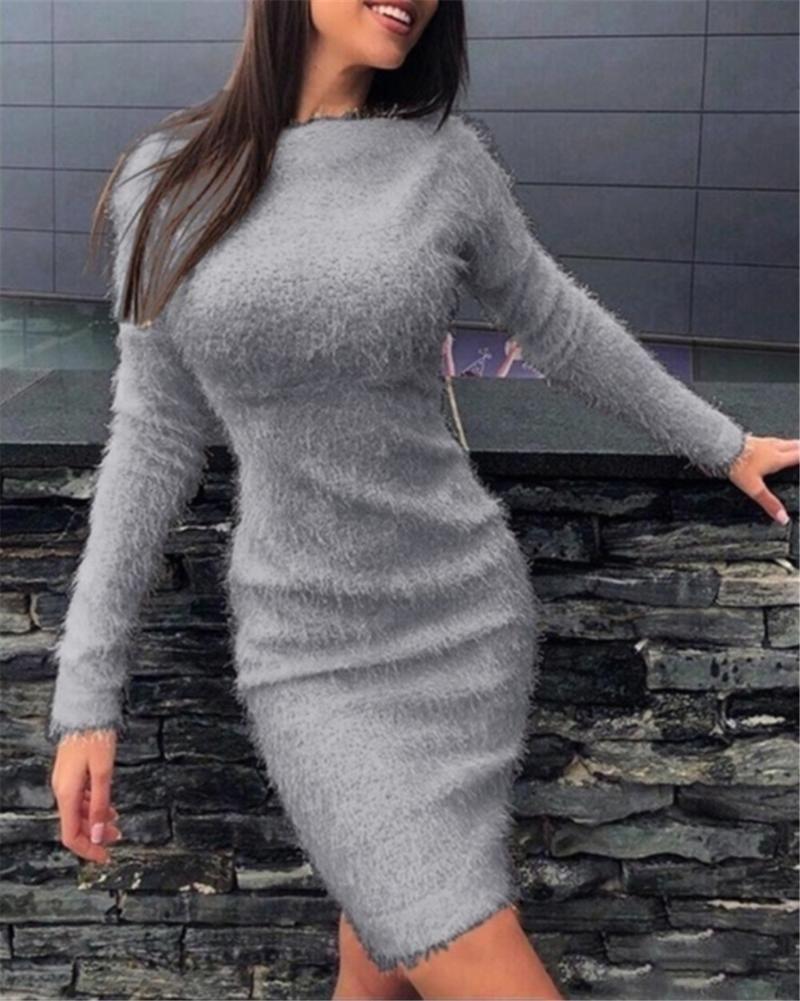 Long Sleeve Dress For Women Solid Color Slim Mini Dress Autumn Winter Plush Oversized