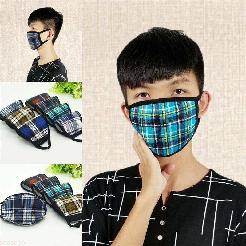 Fashion Adult 1ry Reusable Mascarilla 1 Mask Face Cotton Washable Respirator Mouth Lattice Dustproof Coldproof Cloth Thickening Warm B2 Tnxm