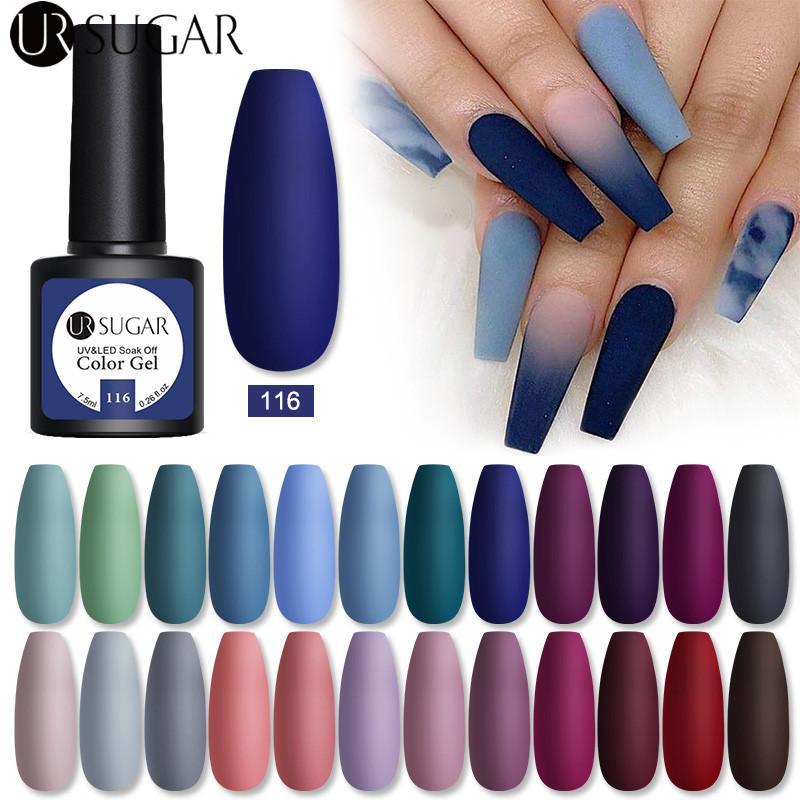 Großhandel 7,5 ml nagelgel polnisch matte blau farbe lacke winter glitter pailletten einweichen semi dauerhaft uv led nail art hybride
